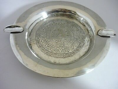 Stunning Rare Hand Beaten Large Vintage Mexican Hallmarked Solid Silver Ash Tray