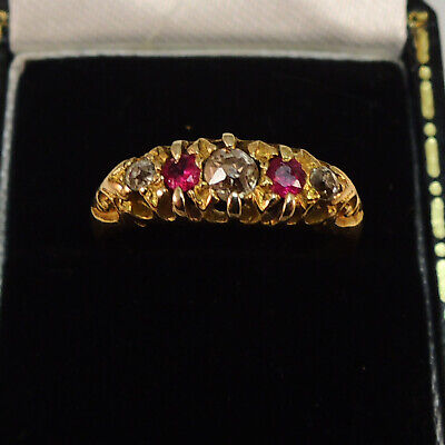 18ct Gold Victorian 1898 Ruby & Diamond Ring - Quality Vintage Antique Jewellery