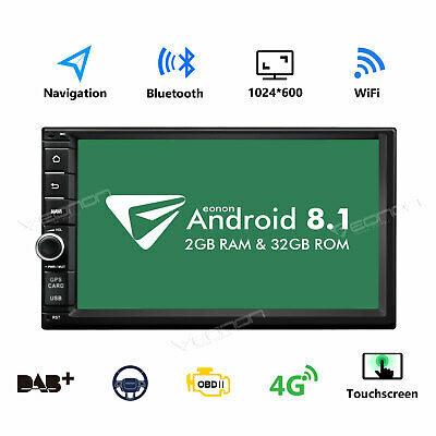 "Eonon Android 8.0 Octa Core Double 2 Din 7""Car Stereo GPS SAT NAV Touch DAB+ OBD"