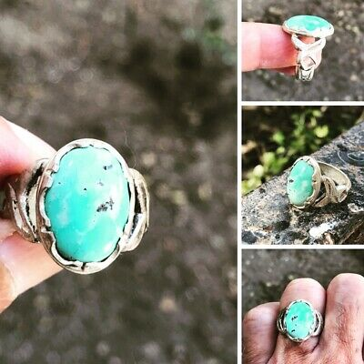 Turqouseخاتم فيروزافغاني Afghanistan stone Blue color 925 Silver man ring 9US