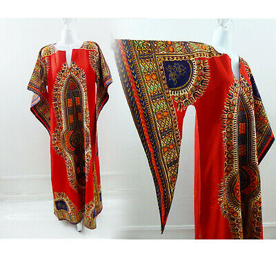 759076f1821f Vintage Deadstock Dashiki Dress Ethnic Hippie Boho Angel Sleeve Red Kaftan  D11