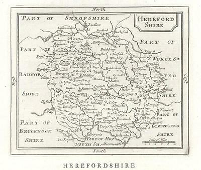 c1780 Original Antique Map HEREFORDSHIRE by John Seller / Francis Grose