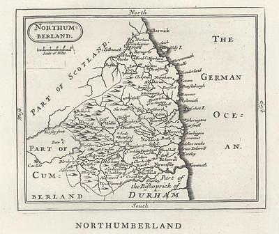 c1780 Original Antique Map NORTHUMBERLAND by John Seller / Francis Grose