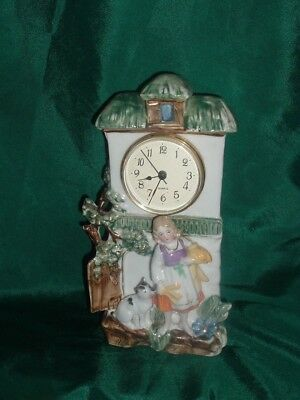 Antique Colorful Porcelain Clock With Dog And Girl