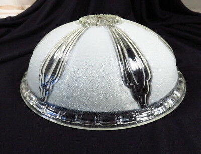 """Vtg ART DECO round Glass Ceiling Fixture 10 1/4"""" Frosted + Clear Light Shade"""