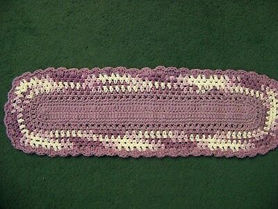 Long Hand Crocheted Doily, Fresh Lilac & Pansy w/Lilac in Mid & Ruf (#119)