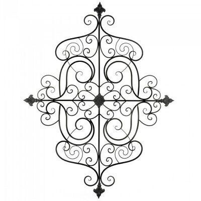 Scrolled Iron Wall Plaque With Fleur-De-Lis Details Large Accent