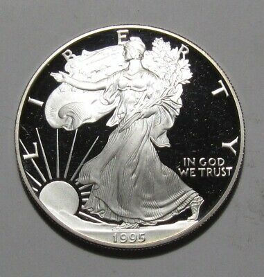 1995 American Silver Eagle Dollar Proof - AU+ Condition / Scratches - 129FR