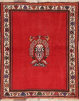Vintage 4x5 Qashqai Persian Geometric Oriental Hand Knotted RED Area Rug WOOL
