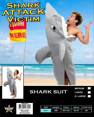 CA937 Grey Shark Victim Mens Animal Party Funny Humour Fancy Dress Party Costume