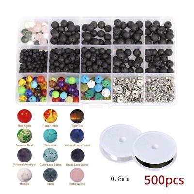 500pcs 4-8mm Round Lava Stone Beads Loose Spacer Natural Gemstone Bracelet Black
