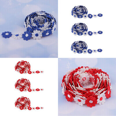 18 Yards Daisy Lace Trim Crochet Flower Ribbon Sewing Dressmaking Edging