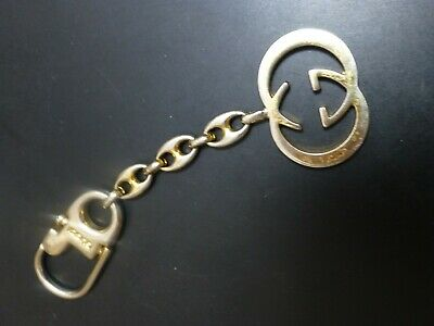 87954451b37 VINTAGE HTF Authentic GUCCI ITALY LOGO KEY CHAIN RING interlocking G  Goldtone