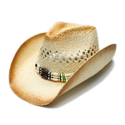 342c2e02fd037e Summer Straw Hollow Out Beach Cowboy Western Cowgirl Sun Hat Wood Bead Band  58cm