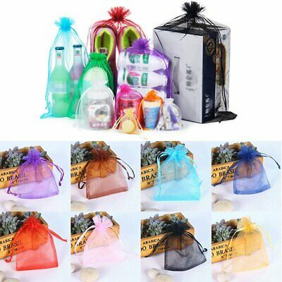 30/50/100 Wedding Party Gift Bags Jewellery Packing Organza Pouch Gift Bag YS