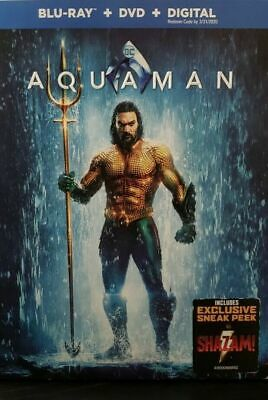 ~ Aquaman ~ Blu-Ray + Dvd + Digital ~ Willem Dafoe With Slipcover Watched Once.