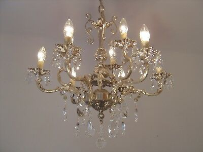 Silver Old Cherubs Nickel Crystal Chandelier Lamp Ceiling Lamp Antique French
