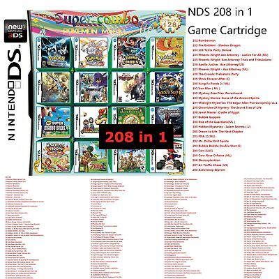 208 in 1 Game Games Cartridge Multicart For Nintendo DS NDS NDSL NDSi 2DS 3DS FS
