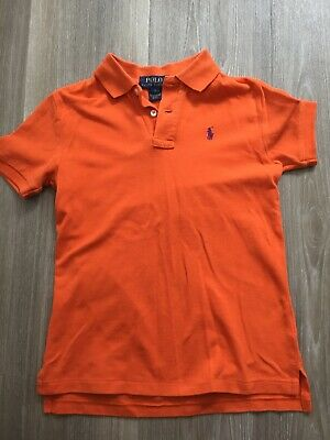 Boys Designer Ralph Lauren Polo Short Sleeved T Shirt Age 7 Bright Orange