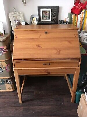 Wooden Writing Desk Bureau Reproduction With Red Leather
