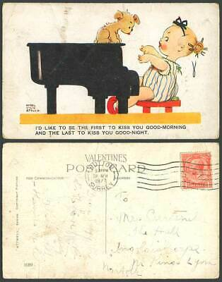 MABEL LUCIE ATTWELL 1927 Old Postcard Dog Puppy Girl Playing PIANO Kiss You 1089