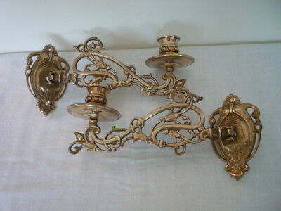 2 Vintage Decorative Brass Candlestick Holders Wall Sconce Piano Nouveau Style D