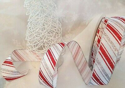 CANDY CANE Christmas glittery stripes on white sateen - Luxury Wire Edged Ribbon