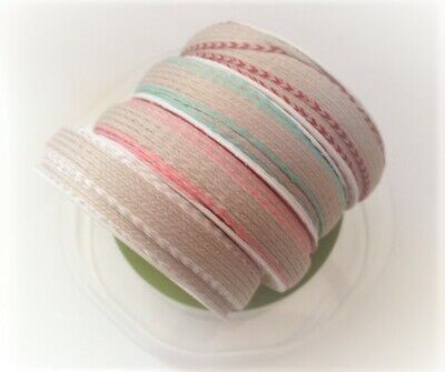 BERTIE'S BOWS - Faux Linen ribbon - natural in 4 colour options - 9mm x 3m reel