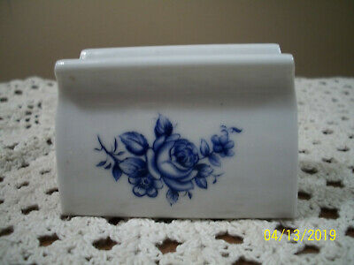 Hausmann Made in Germany Ironstone Cobalt Blue Floral Card Holder