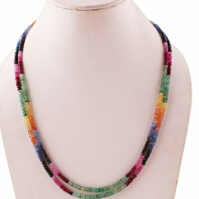 Natural Precious Multi Sapphire,Ruby,Emerald Faceted Gemstone Necklace 2 Strand