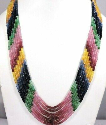 Natural Precious Multi Sapphire,Ruby,Emerald Faceted Gemstone Necklace 7 Strand
