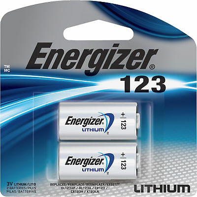 Energizer Lithium 123 Cr123A 3V Photo Battery 2 Pack  - Latest Exp. 12-2028