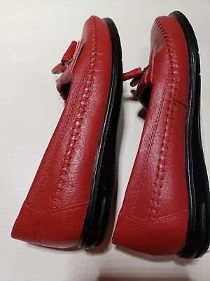 bc49dba6b37 Dr Scholls DoubleAir Pillo Womens Red Leather Tassel Moccasin Loafers Shoes  5 M