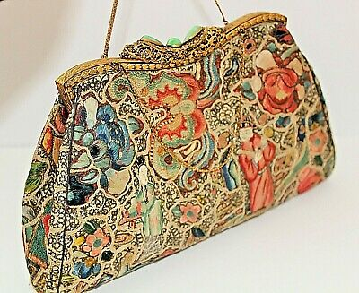 Antique Chinese Embroidered Handbag Purse With Filigree Clasp - Stunning !!