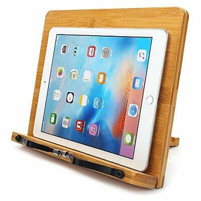 Bamboo Book Stand,wihacc Adjustable Book Holder Tray and Page Paper Clips-Cookbo