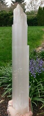 "XL! 15.25"" SELENITE ""Charging"" Log Raw Crystal Reiki Charged 2LB 12.7oz *READ*"