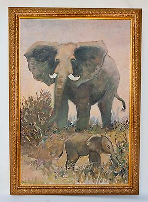 """Vintage Oil Painting on Canvas 40""""x 28""""- Mom and Baby Elephant Gilt Gold Frame"""