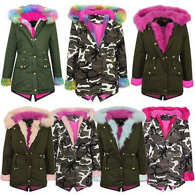 Kids Girls Camouflage Faux Fur Hooded Parka School Jackets Outwear Coats 2-13 Yr