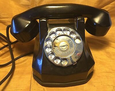 1930s Art Deco Automatic Electric Monophone Black Rotary Telephone N 4023 A0