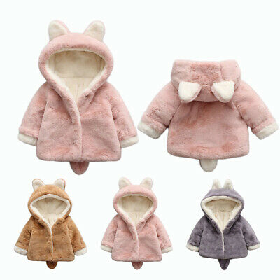 Bunny Ears Coat Jacket Soft Comfy Thicken Fluffy Casual Infant Girl Baby Cloak