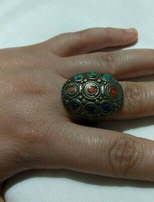 Extremely Ancient Antique Rare Ring Viking Bronze Coral Old Artifact Quality