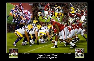Alabama Football Vs Lsu 2015 Tiger Take Down Defense Print By Pitts Henry