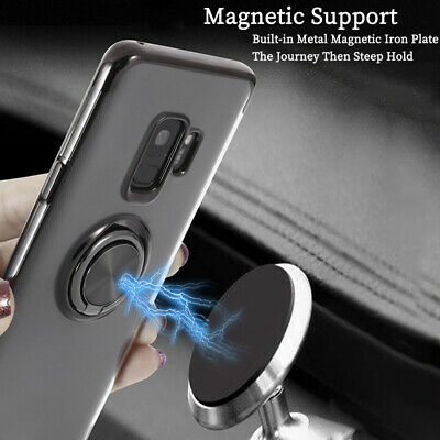 Slim Clear TPU Ring Holder Magnetic Stand Cover For Samsung Note 9 S9+ S8 Case