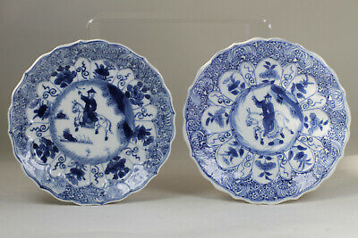 Antique Chinese c1700 Kangxi Period Molded Lobed Saucer Dish Blue White Pair