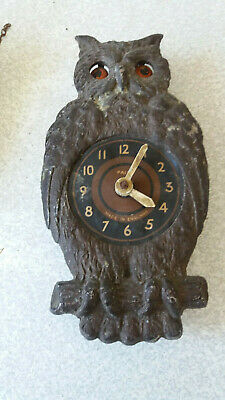 Antique  1900S Metal -Owl- Paico- Wall Clock - Restoration Project -Moving Eyes
