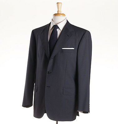 NWT $5495 BRIONI 'Nomentano' Gray-Blue Stripe Year-Round Wool-Mohair Suit 44 R