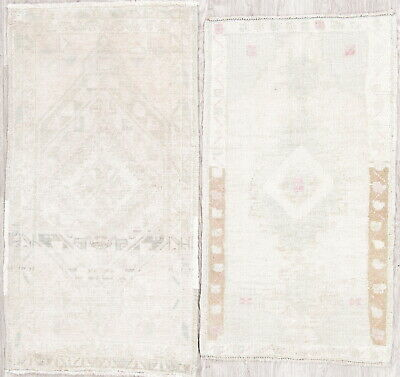 Set of 2 Antique Muted Color Oushak Turkish Hand-Knotted 2x3 Distressed Wool Rug
