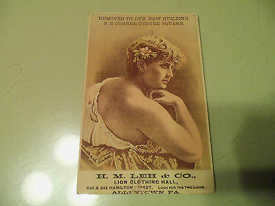 H M Leh & Co Lion Clothing Hall Allentown PA Victorian Advertising Trader Card
