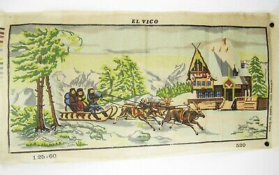 "Diamant HUGE Needlepoint Tapestry Canvas Full Color Winter Snow Sleigh 42"" x 19"""