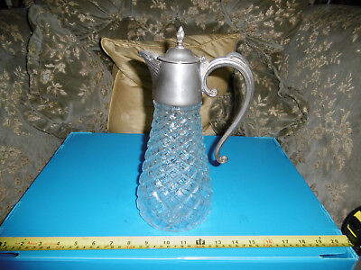 Vintage Claret Jug Or Pitcher Wine Decanter With Silver Plated Lid And Handle